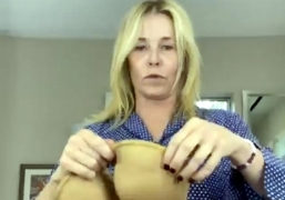 Chelsea Handler makes a mask out of bra