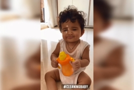 Sameera's daughter Nyra helps her clean in funny video